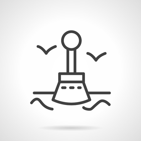 navigational: Flat line style vector icon for navigational buoy.  Illustration
