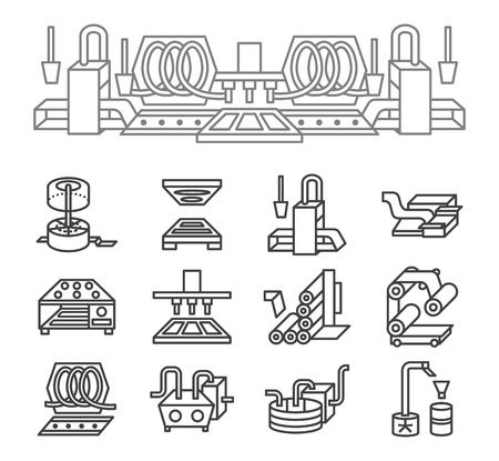 manufacturing plant: Set of black simple line vector icons for food production.