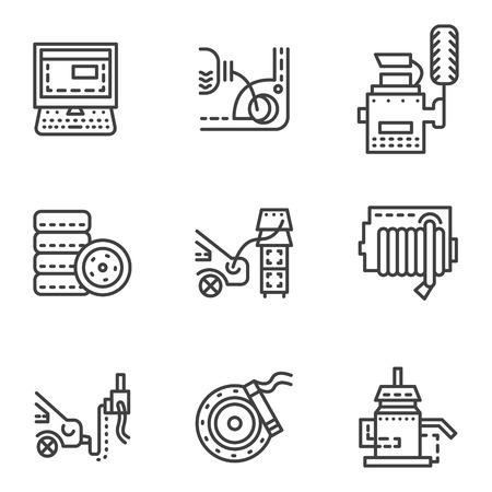 automotive repair: Set of black simple line vector icons for car service maintenance.