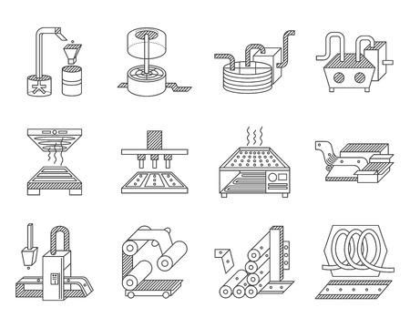 Línea plana iconos vector de recogida para los elementos de procesamiento de alimentos.