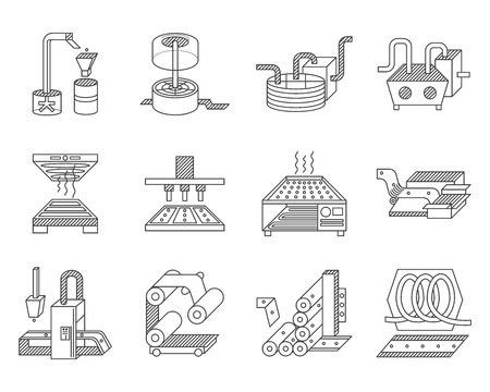 maquinaria: Línea plana iconos vector de recogida para los elementos de procesamiento de alimentos. Vectores