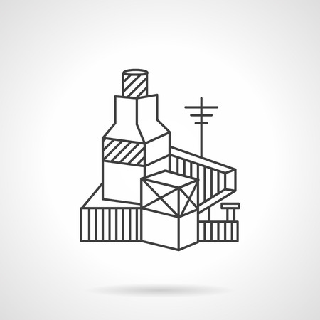 abandoned warehouse: Flat line design vector icon for brickwork factory.