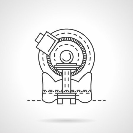 xray machine: Flat line design vector icon for CT scanner.