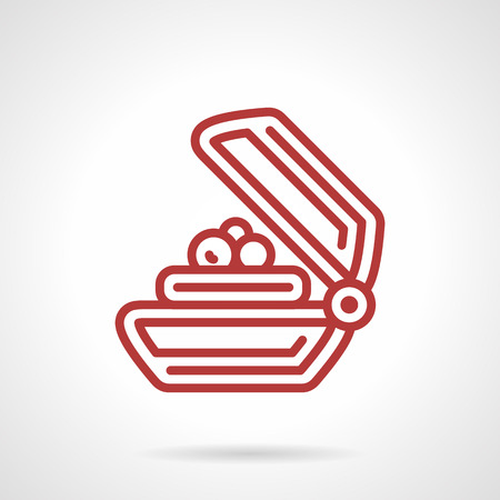 line red: Flat red line design vector icon for soap on a soap dish.  Vettoriali