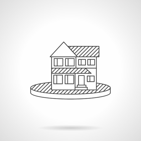 for rental: Flat line design vector icon for rental and sell of property.
