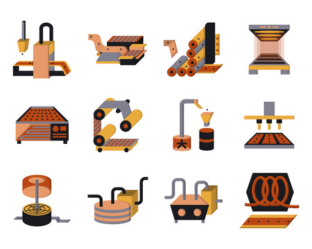 steel factory: Set of flat color style vector icons for food processing machinery and equipment.  Illustration