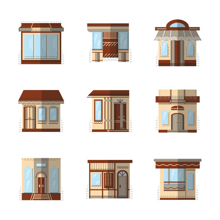 Set of brown storefronts vector icons and signs flat color style.  Ilustração