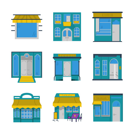 Set of storefront and showcase vector icons and signs in blue and yellow flat colors style.