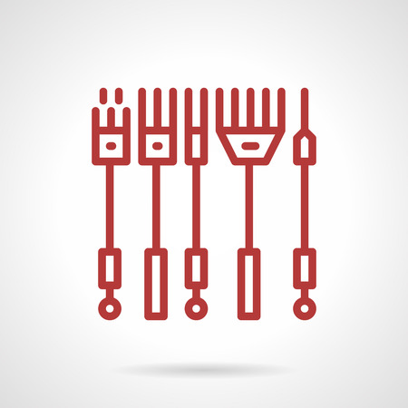 permanent: Flat red line style vector icon for set of professional needles for tattoo machine. Linear, shader and other samples. Elements of web design for business or website.