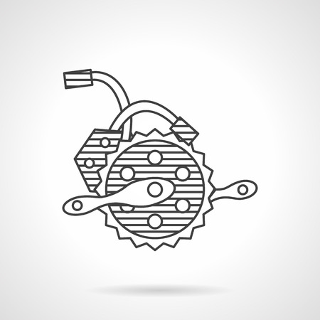 alloy wheel: Thin line design vector icon for parts of electric bicycle. Power generation crankset with wires. Elements of web design for business or website.