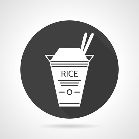 chinese take away container: Black round vector icon with white contour box with rice and chopsticks. Take away food menu. Elements of web design for business or website. Illustration