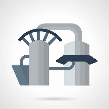 hydroelectric: Flat color style vector icon for hydroelectric power station. Power industry architecture and manufacturing buildings. Elements of web design for business or website.