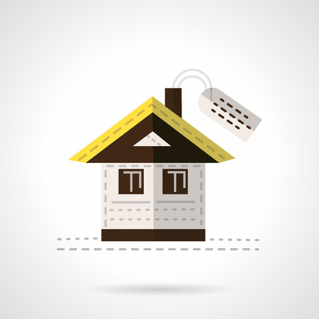 for rental: Abstract flat color style vector icon for sale or rental of residential buildings. House with label. Elements of web design for business or website.