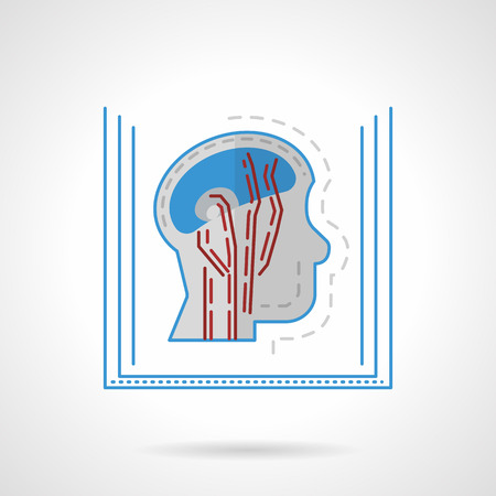 mri head: Flat color design vector icon for MRI. Magnetic resonance image, side view of the head. Elements of web design for business or website. Illustration