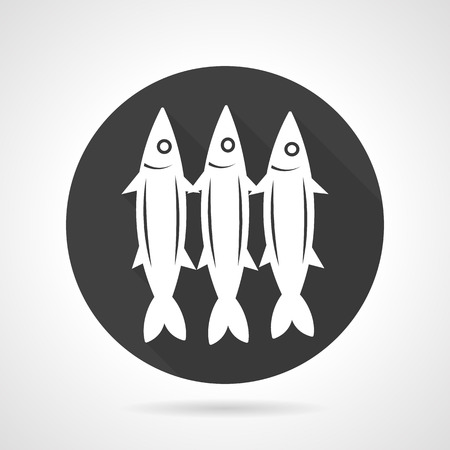 pilchard: Flat black round vector icon with white silhouette three sardines. Seafood, fish menu, underwater creatures. Elements of web design for business or website.