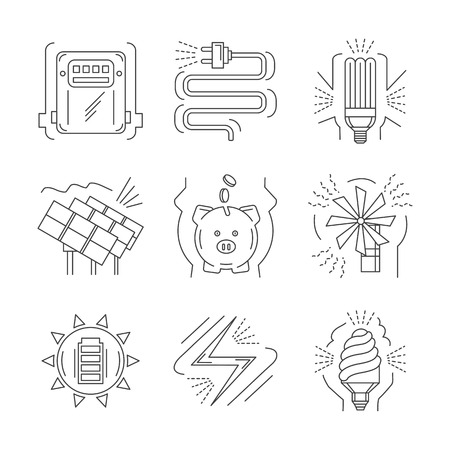 thin bulb: Set of thin line design vector icons for saving energy symbols. Solar charger, windmill, eco bulb, power counter. Elements of web design for business and website