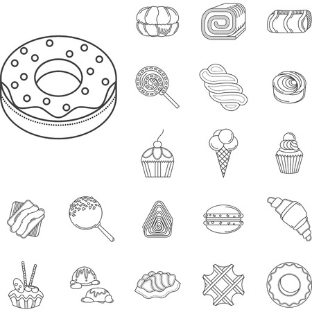 Set of flat line design vector icons for confectionery. Sweet menu, candies and cakes, ice cream, waffles. Elements of web design for business and website Illustration
