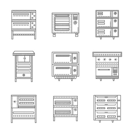 restaurant icons: Set of thin line design vector icons for ovens and stoves. Household appliances, equipment for restaurant, commercial kitchen. Elements of web design for business and website Illustration