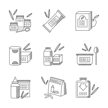 puree: Set of thin line design vector icons for baby food. Containers with milk powder, puree, juice and other meal samples. Elements of web design for business and site.
