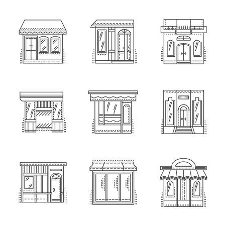 escaparates de tiendas: Conjunto de l�nea delgada iconos del vector del dise�o de escaparates. Comercios, tiendas, caf�s, hoteles y otras muestras exterior del edificio. Elementos de dise�o de p�ginas web para los negocios y el hotel.
