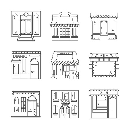 storefronts: Set of stylish flat line design vector icons for commercial buildings facade. Showcase and storefronts. Elements of web design for business and site.