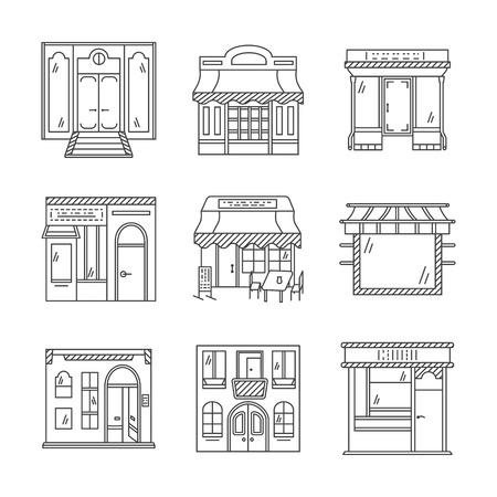 Set van stijlvolle vlakke lijn ontwerp vector iconen voor commerciële gebouwen gevel. Showcase en winkelpuien. Elementen van web design voor het bedrijfsleven en de site.
