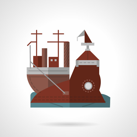 sea port: Brown flat color style vector icon for pier or wharf. Sea port, shipping, marine objects. Elements of web design for business or website.