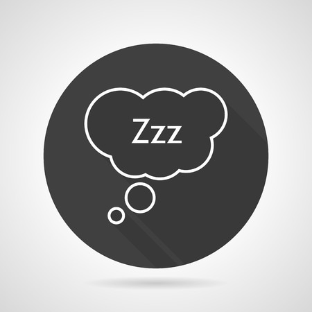 zzz: Black round vector icon with white line sleep sign. Speech bubble with Zzz. Elements of web design for business or website. Illustration