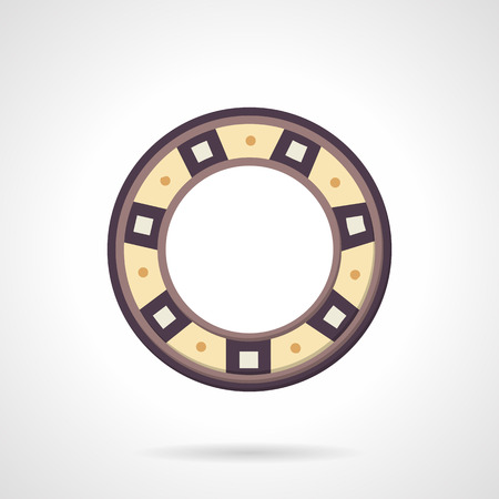 spare part: Colored flat design vector icon for bearing. Machinery part, spare part, ball bearing. Elements of web design for business or website. Illustration