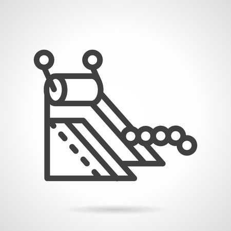 distribute: Black simple line design vector icon for equipment of manufacture. Conveyor part, machinery, processing. Elements of web design for business or website.
