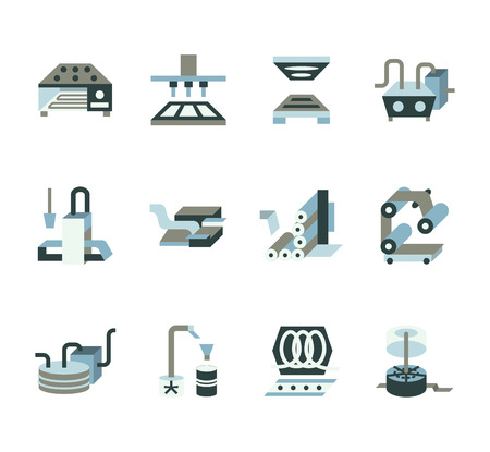 food industry: Set of flat color design vector icons for food processing equipment. Conveyor, machinery, packaging. Elements of web design for business and website