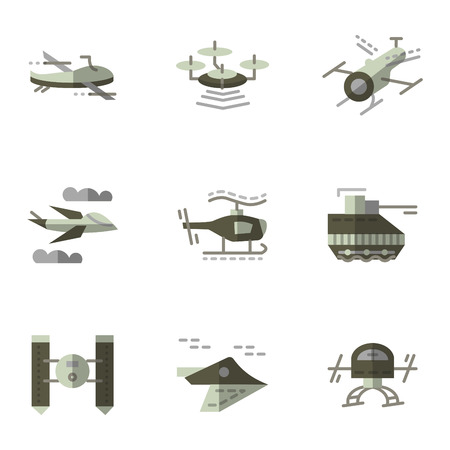 unmanned: Set of flat color design vector icons for military unmanned drones and robots. Surveillance, areas control, aerial spy. Elements of web design for business and website