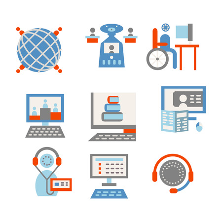 portability: Colored simple flat style icons vector collection for online education. E-library, educational program, video lectures. Elements of web design for business and website