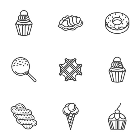 Set of flat line style vector icons for sweet desserts. Ice cream, donut, candy and other samples for desserts or cafe menu. Elements of web design for business or website.