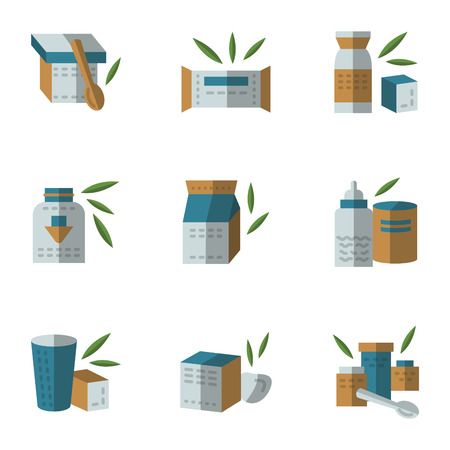 food healthy: Colored flat style icons vector collection for containers and jars for baby food. Organic food, healthy feed for baby. Elements of web design for business and website Illustration