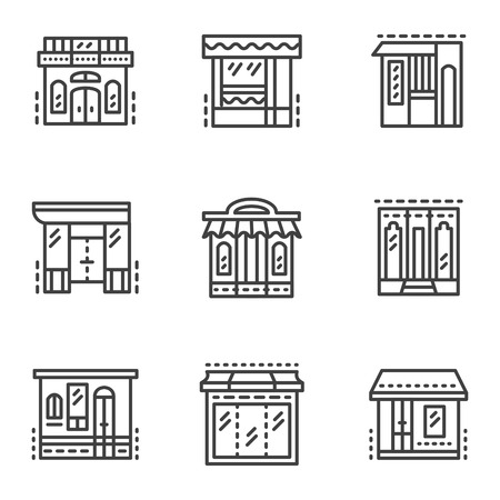 escaparates de tiendas: Conjunto de iconos del vector de estilo de l�nea plana para escaparates. Hotel, cafeter�a, tienda, edificios comerciales y otras muestras. Elementos de dise�o web para el negocio o sitio web.