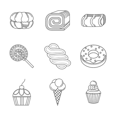 confection: Set of flat line design vector icons for desserts. Confection, pastry, candies and other samples of sweet food. Elements of web design for business and site