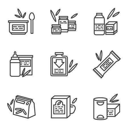 퓌레: 베이비 푸드 검은 간단한 라인 스타일 벡터 아이콘의 집합입니다. 분유, 과일과 야채 퓌레, 식. 비즈니스 및 사이트에 대한 웹 디자인의 요소.