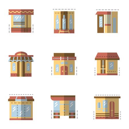 escaparates de tiendas: Conjunto de iconos vectoriales de estilo color plano para escaparates. Comercial arquitectura, tienda y tienda, cafeter�a y restaurante. Elementos de dise�o de p�ginas web para los negocios y el hotel.