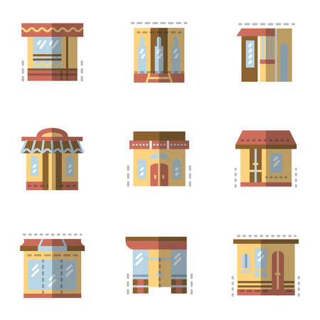Set of flat color style vector icons for storefronts. Commercial architecture, store and shop, cafe and restaurant. Elements of web design for business and site.