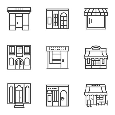 Set of black simple line style vector icons for storefronts and showcase. Commercial architecture, store and shop, cafe and restaurant. Elements of web design for business and site. Illustration