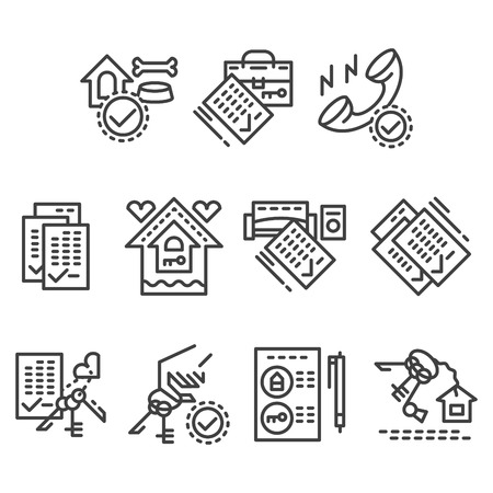 apartment search: Set of flat line style vector icons for house rental agency. Search real estate, rent and sell apartment. Elements of web design for business or website. Illustration