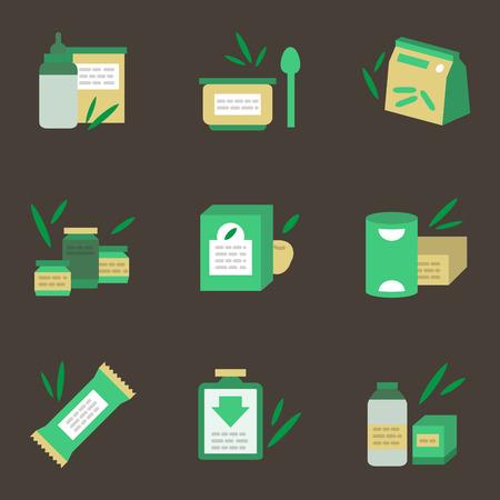 Caja Verde Y Una Botella De Leche. Plano De Iconos De Vectores ...