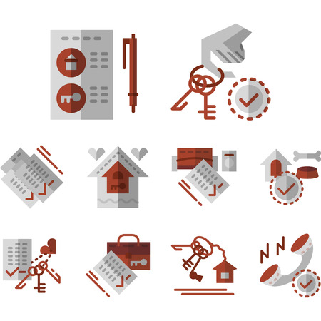 residential structure: Gray and red flat color vector icons set for rental of property services. Residential structure, ownership, keys, rental service. Elements of web design for business and site.