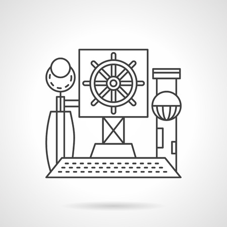 piloting: Flat line design vector icon for steering wheel. Selecting the direction of the right path. Elements of web design for business and website.