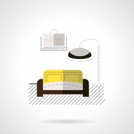 for rental: Flat color design vector icon for rental housing. Symbol of design interior room. Elements of web design for business or website.