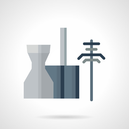 powerhouse: Flat color design vector icon for thermoelectric power station