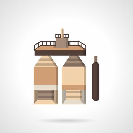Flat color design icon for underground fuel storage
