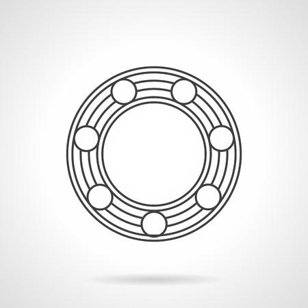 Flat line design icon for ball bearing Illustration