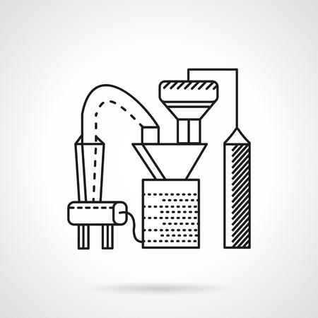 fertilizers: Flat line design icon for fertilizer factory Illustration